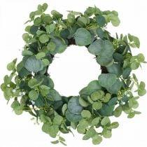 Couronne décorative eucalyptus vert fleurs blanches artificielles Ø45cm