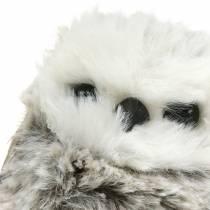 Peluche chouette 7cm gris blanc 2pcs