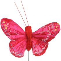 Papillon plume orange-rouge 5cm 24pcs