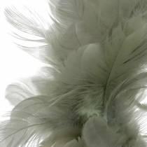 Couronne de plumes déco grise Ø18cm Décoration de Pâques en vraies plumes
