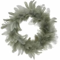 Décoration de Pâques guirlande de printemps gris Ø18cm Vraies plumes