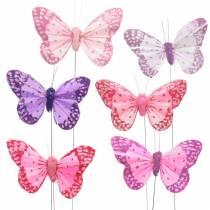 Papillon plume sur fil rose, violet 7cm 24pcs