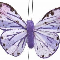 Fil de métal papillon plume rose, violet 7cm 12 p