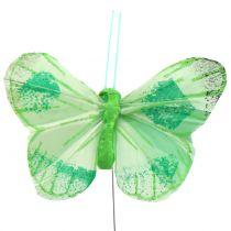 Papillon plume sur fil de couleur 6cm 12pcs