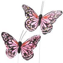 Papillon rose sur fil de fer 11 cm 12 p.