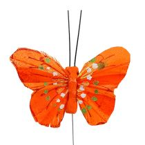 Papillon de plumes 6cm jaune, orange 24P