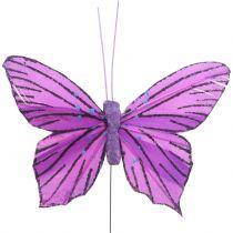 Papillons en plumes mauves 8,5 cm 12 p.