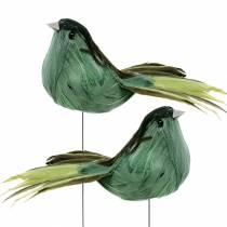 Plume oiseau sur fil vert 12cm 4pcs