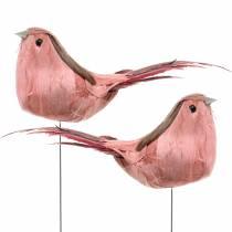 Oiseau de plume sur le fil Rosa 12cm 4pcs