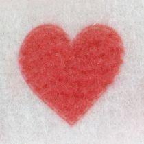 Bande de feutrine blanche avec cœur 15 cm 2 m