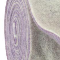 Bande de feutrine 15 cm x 5 m bicolore mauve clair, blanc
