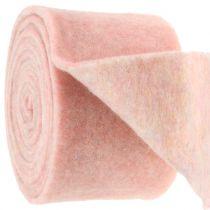 Bandeau à pots de fleurs en feutrine bicolore blanc/rose 15 cm 5 m