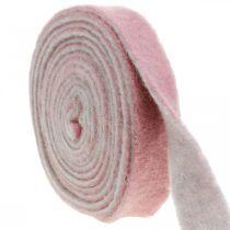Charnière pot, ruban adhésif déco en feutre de laine vieux rose / gris L4,5cm L5m