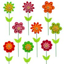 Fleur en feutrine sur pique diff. couleurs 7 cm L. 25 cm 18 p.