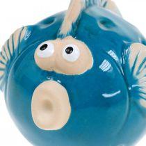 Poisson en céramique, maritime, poisson décoratif bleu L11.5 4pcs