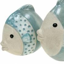 Poisson déco terre cuite bleu, gris H14cm / 12,5cm lot de 2