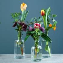 Vase bouteille petit Ø5.5cm H10.5cm clair 6pcs
