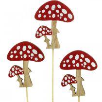 Champignons vénéneux en bois, décoration champignon, automne, clous de fleurs H7cm L34cm 18pcs