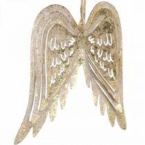 Ailes d'ange, décoration en métal à accrocher, décorations d'arbre de Noël dorées, aspect antique H11.5cm L11cm 3pcs