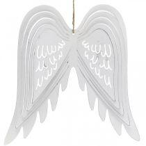 Ailes à suspendre, décoration de l'Avent, ailes d'ange en métal Blanc H29.5cm L28.5cm