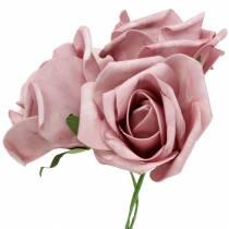 Rose mousse Ø10cm vieux rose 8pcs