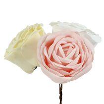 Mélange de roses en mousse Ø 10 cm, rose, crème, blanc 6 p.