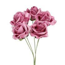 Rose mousse mini roses Ø3,5cm bruyère 48pcs