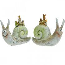 Escargot décoratif amical avec compagnons, printemps, décoration de table, escargot domestique 2 pièces