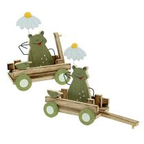 Grenouille dans charrette 19x7x14cm Vert 4 pièces