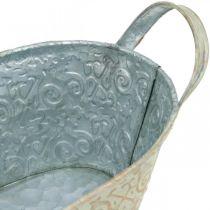 Décoration de printemps pot de fleur ovale en métal avec anses pot de fleurs bol vintage 33 × 17cm