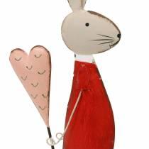 Décoration de printemps, lapin de Pâques en métal, Saint Valentin, lapin avec un coeur, Pâques 45cm