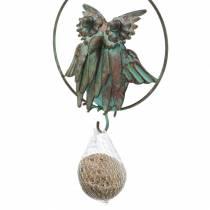 Chouette dans un anneau en guise de cintre en métal marron-turquoise Ø12,9cm L42cm