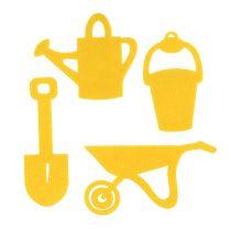 Accessoires de jardinage en feutrine jaune 24 p.