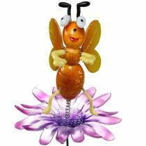 Broche fleur abeille sur fleur avec ressorts métalliques orange, violet H74cm