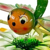 Bouchon décoratif papillon et fleur à ressorts métalliques vert, orange H70cm