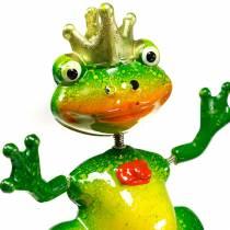 Bouchon de jardin grenouille roi avec ressort en métal vert, jaune, doré H68,5cm