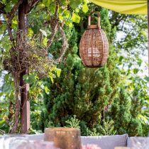 Lanterne tressée, décoration bougie, lanterne en bois avec anse Ø25cm H34.5cm