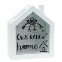 """Boîte économique """"Notre nouvelle maison"""" bois verre blanc 15x7cm H18cm"""