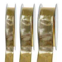 Ruban cadeau doré avec bord métallique 25m