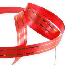 Ruban cadeau rouge avec double bande dorée 250 m