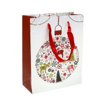 Sac cadeau blanc avec motif 18cm x 23cm 1p