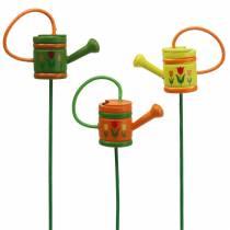 Bouchon de fleur arrosoir bois vert, jaune, orange assorti 7.5cm x 5.9cm H30.5cm 12pcs