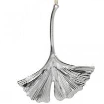 Pendentif décoratif feuille de ginkgo, décoration métal, Avent, décoration automne argent L12cm 12pcs