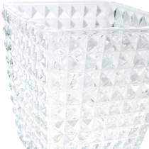 Lanterne en verre motif à facettes, décoration de table, vase en verre, décoration en verre 2pcs