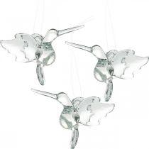 Décoration en verre oiseaux de paradis, décoration colibri, pendentif en verre, décoration d'oiseaux 3 pièces