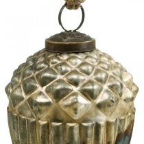 Glands à accrocher, fruits d'automne, décorations d'arbres, verre véritable, aspect antique Ø7.5cm H10.5cm 2pcs