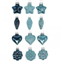 Mini décorations de sapin de Noël mix verre bleu, paillettes assorties 4cm 12pcs