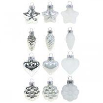Mini décorations de sapin de Noël mix verre blanc, argent assorti 4cm 12pcs