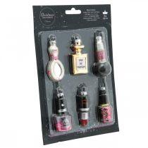 Décorations pour arbres de Noël Beauty & Glamour, pendentifs en verre mélange cosmétique H5.5–7cm verre véritable 6pcs