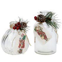 Bouteilles en verre avec décorations de Noël 2pcs